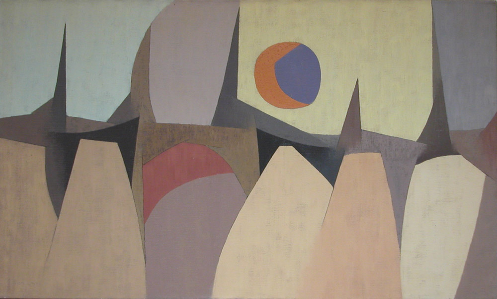 Jagged Landscape with Sun , 1954  oil on canvas 24 x 40 inches; 61 x 101.6 centimeters