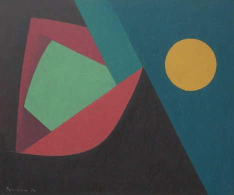 Untitled with Moon , 1954  oil on masonite board 24 x 28 3/4 inches; 61 x 73 centimeters