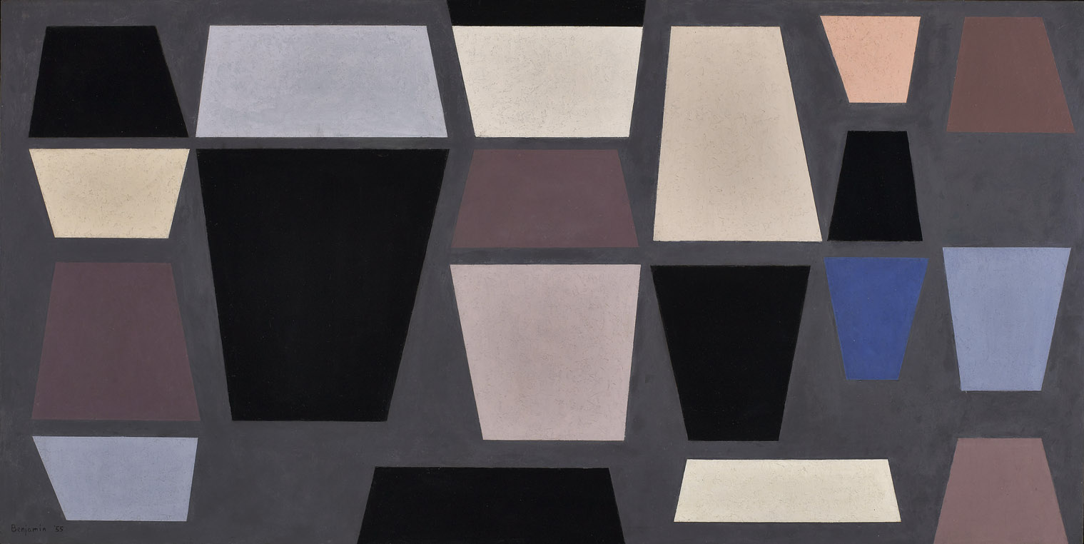 Black, Blue & Pink Planes , 1955  oil on board 24 1/4 x 48 inches; 61.6 x 121.9 centimeters