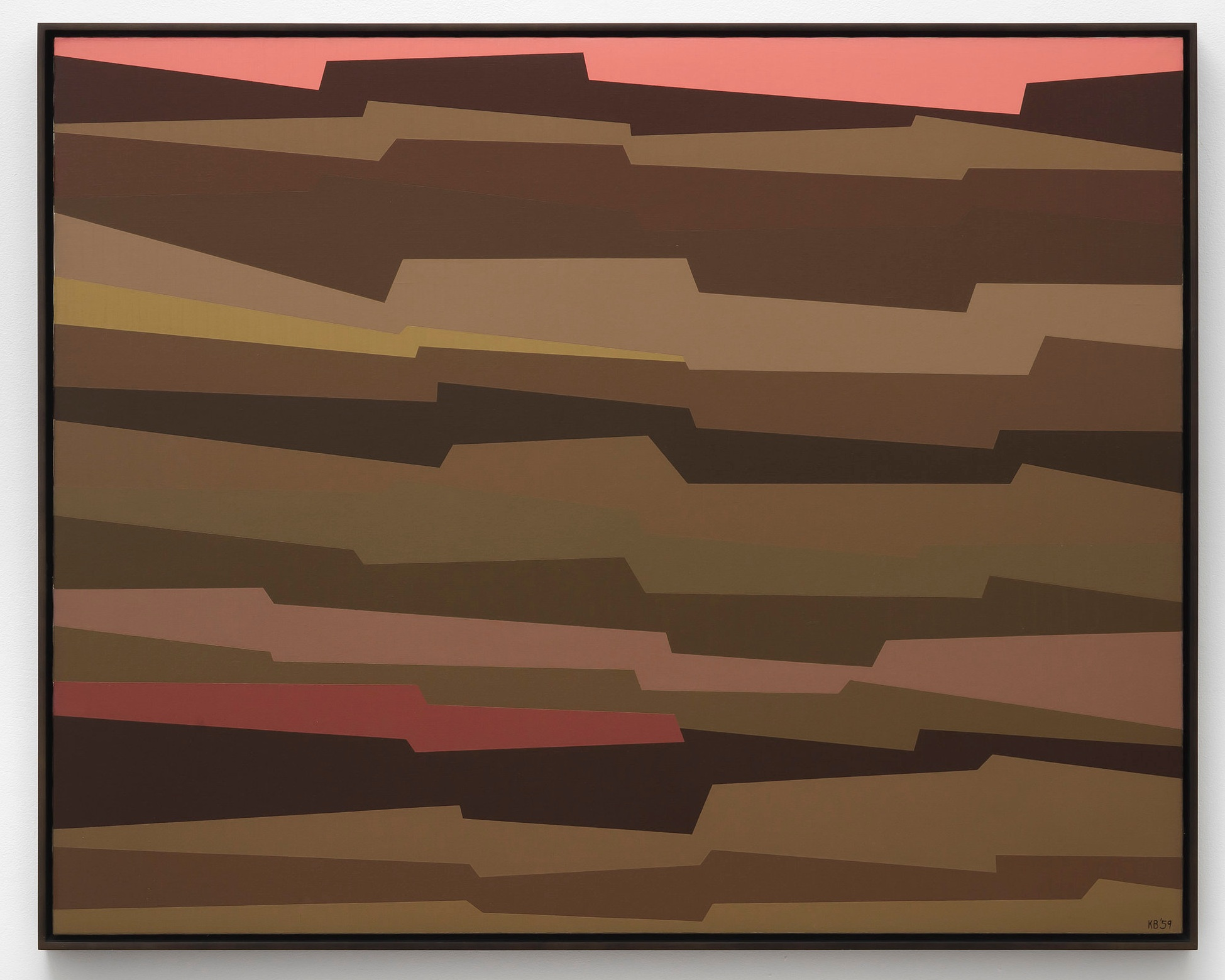 Interlocking Forms (amber, umber, yellow, crimson) , 1959  oil on canvas 40 x 50 inches; 101.6 x 127 centimeters