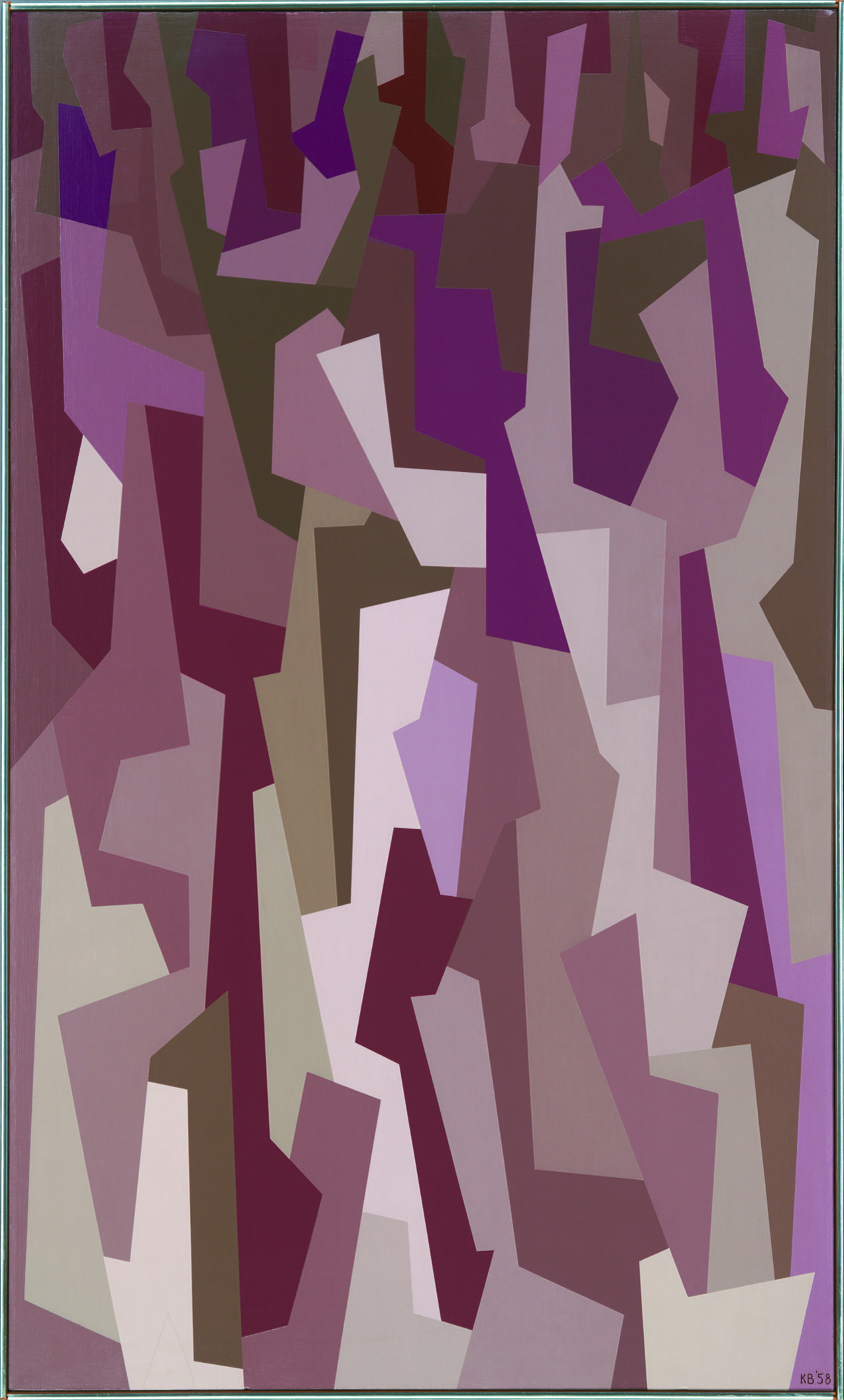 Interlocking Forms (violet,burnt umber) , 1958  oil on canvas 50 x 30 inches; 127 x 76.2 centimeters
