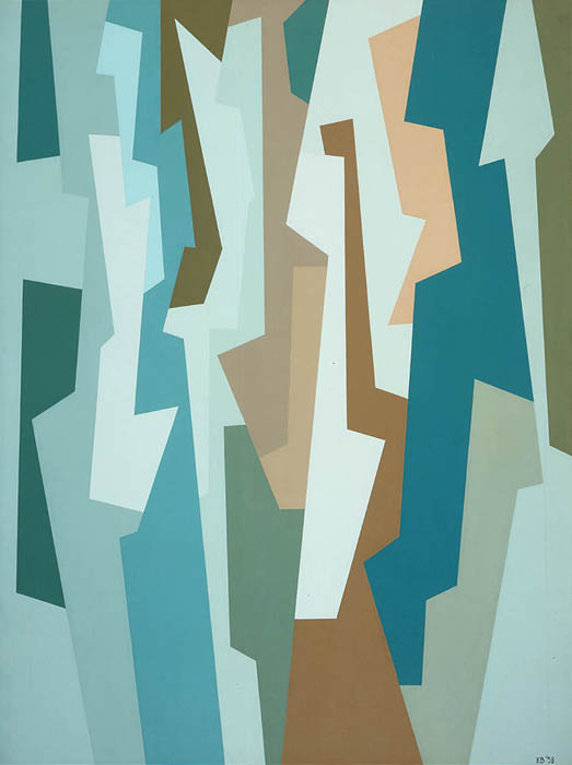 Interlocking Forms (Thalo Green/Raw Umber/Mars Yellow) , 1958  oil on canvas 40 x 30 inches; 101.6 x 76.2 centimeters