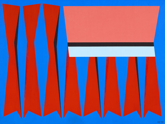 Red, Blue, Pink , 1958  oil on canvas 30 x 40 inches; 76.2 x 101.6 centimeters
