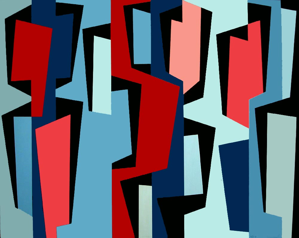 Totem Group IV , 1957  oil on canvas 40 x 50 inches; 101.6 x 127 centimeters