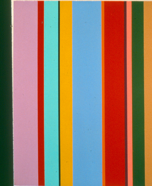 Vertical Stripes , 1959  oil on canvas 24 x 20 inches; 61 x 50.8 centimeters
