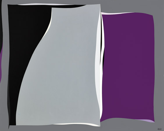 Black & Gray Curves with Purple , 1960  oil on canvas 40 x 50 inches; 101.6 x 127 centimeters