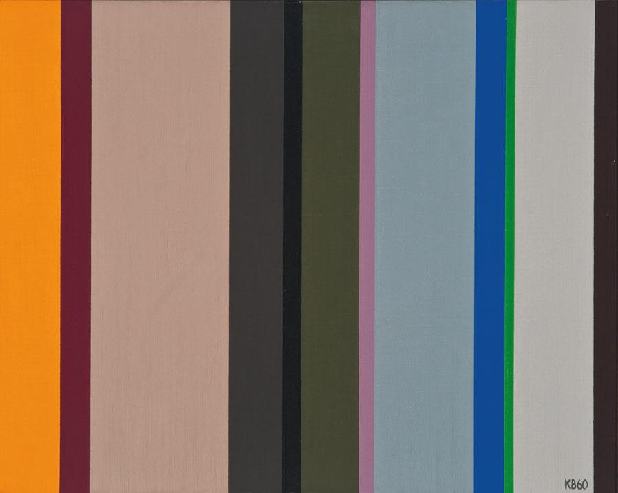 Vertical Stripes , 1960  oil on canvas 16 x 20 inches; 40.6 x 50.8 centimeters