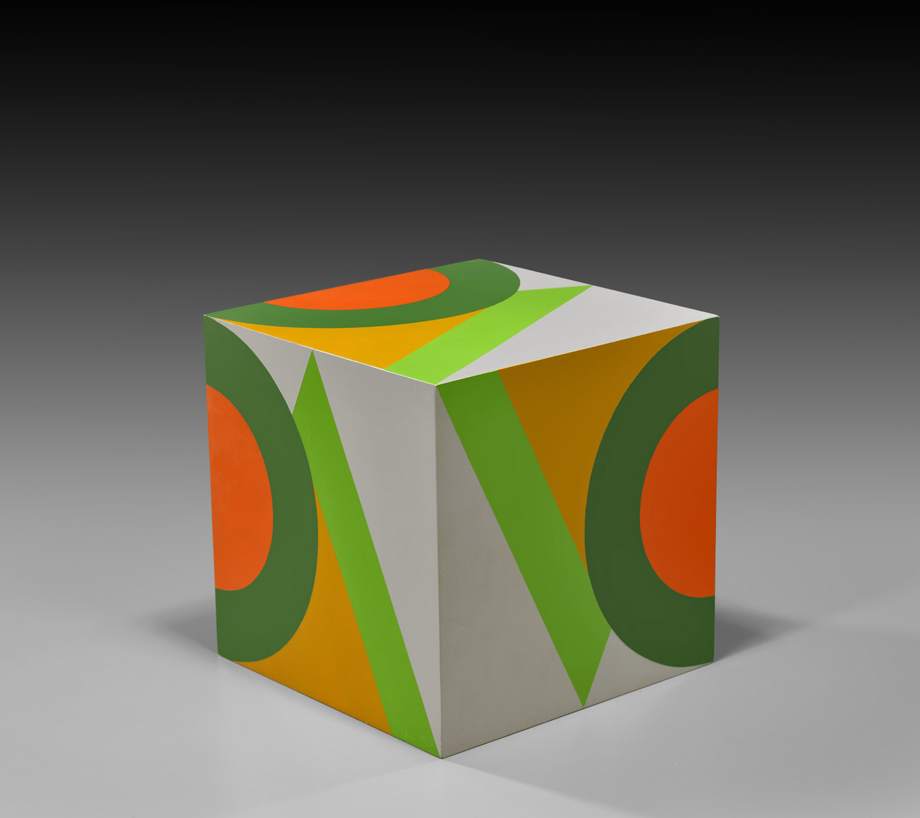 untitled cube (grey background VC) , 1984  oil on wood 10 x 10 x 10 inches; 25.4 x 25.4 x 25.4 centimeters