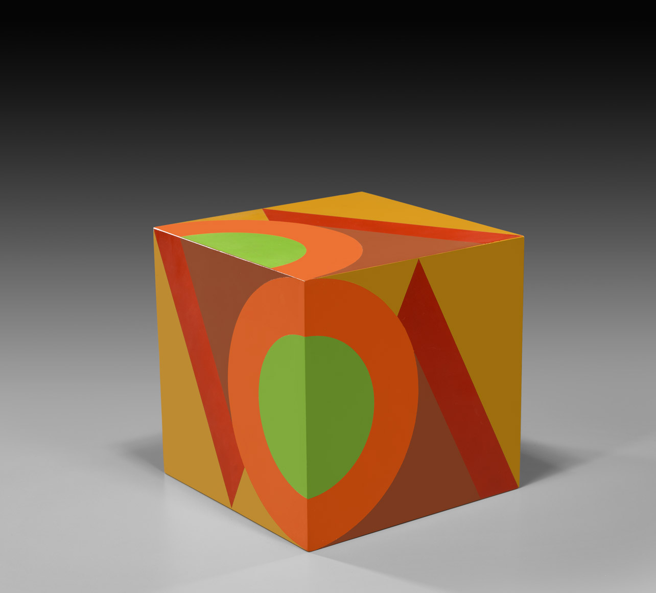untitled cube (camel background VC) , 1984  oil on wood 10 x 10 x 10 inches; 25.4 x 25.4 x 25.4 centimeters