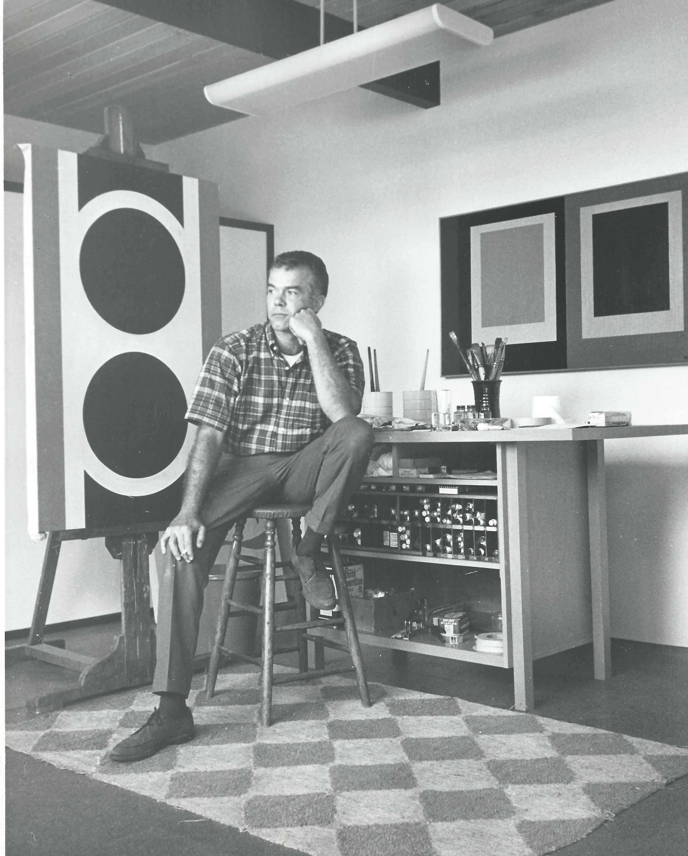 Karl Benjamin in his studio, 1964.
