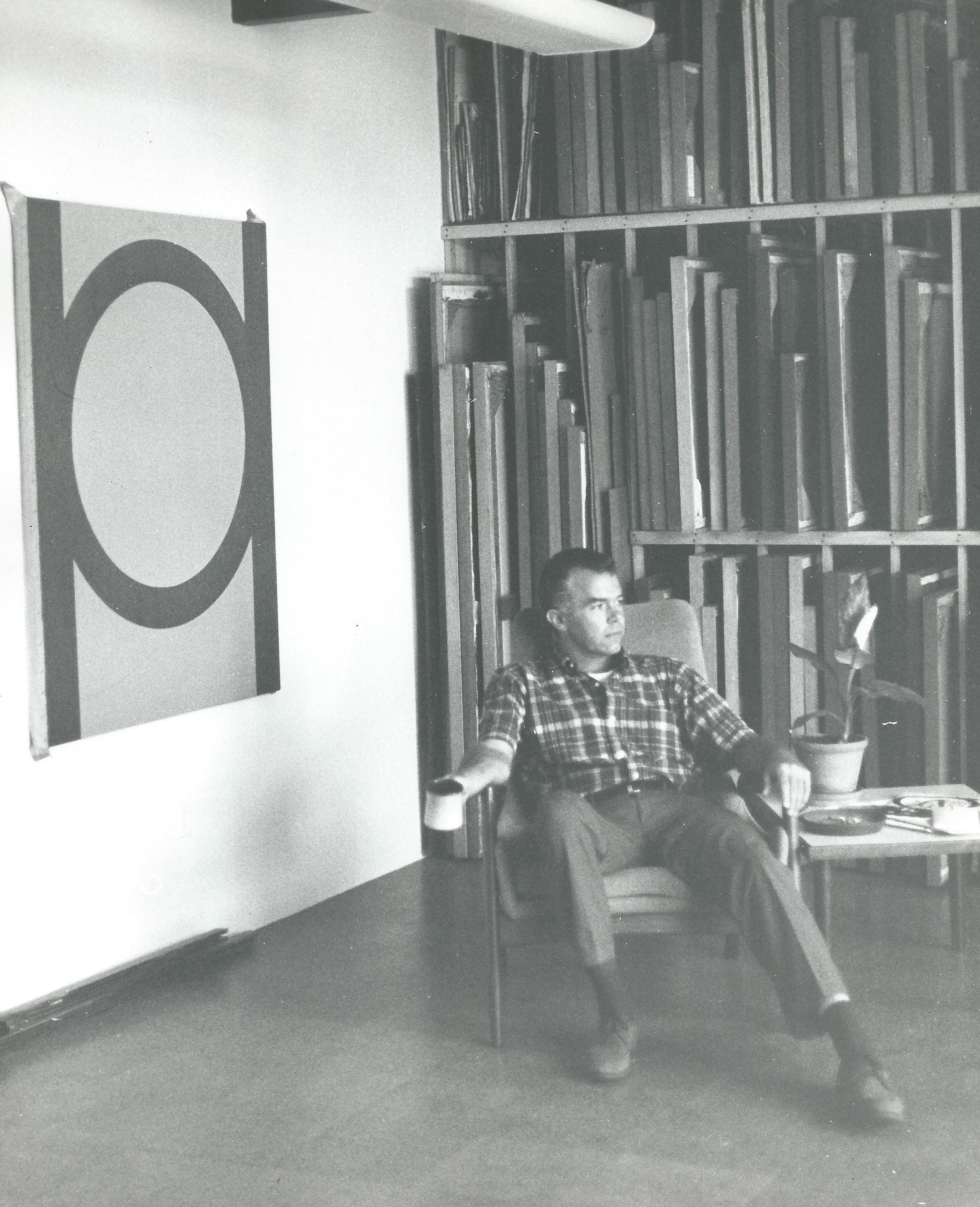 "Karl Benjamin in his studio with ""#18"", 1964."