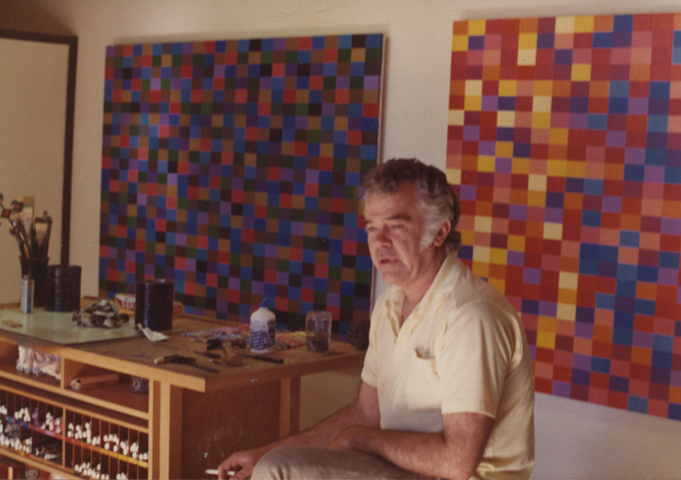 Karl Benjamin in his studio, circa 1972.