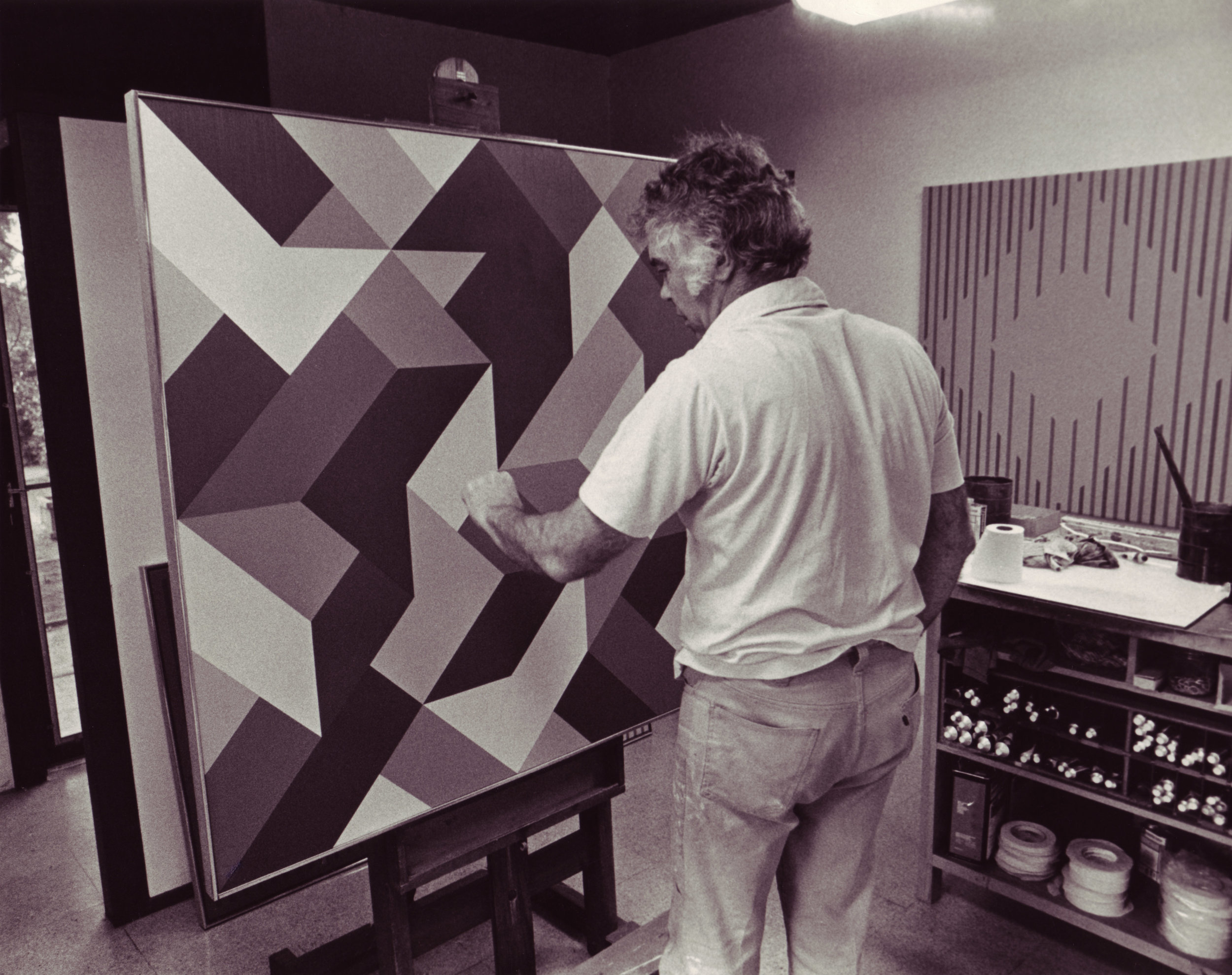 Karl Benjamin in his studio, 1978.