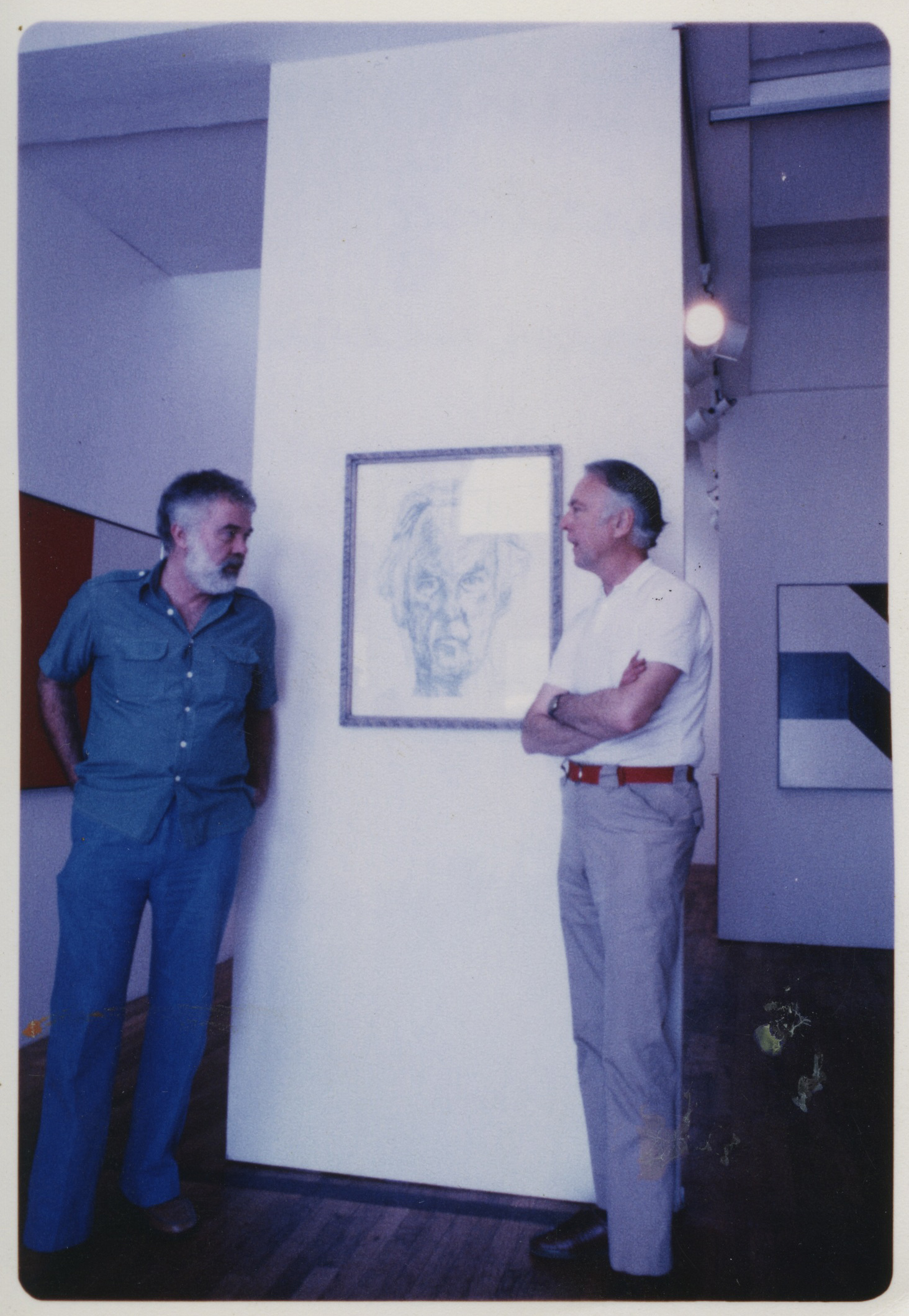 Karl Benjamin and Frederick Hammersley at L.A. Louver during Hammersley's solo exhibition  Rules and Expectations , February 1981.