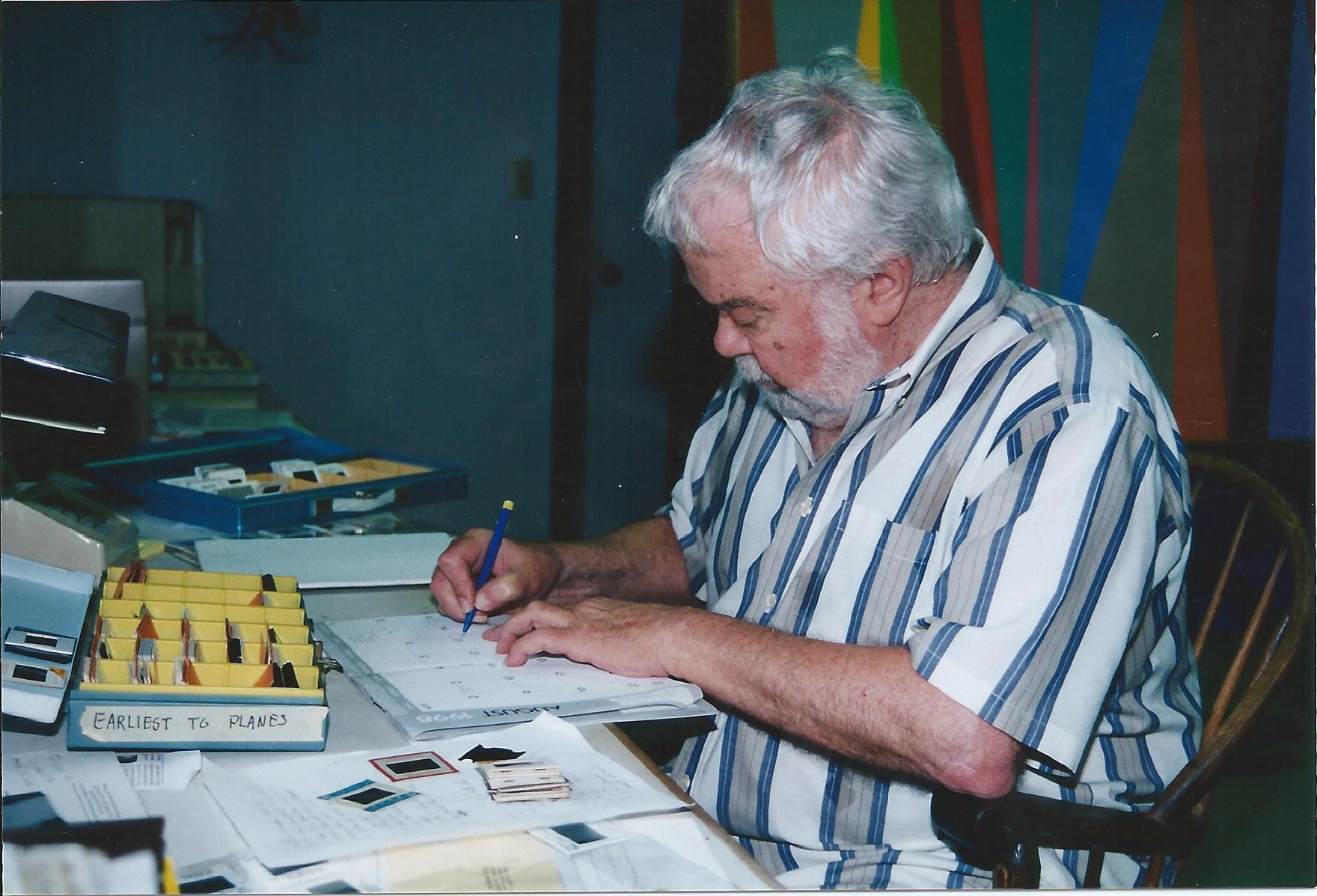 Karl Benjamin in his studio, circa 2005.
