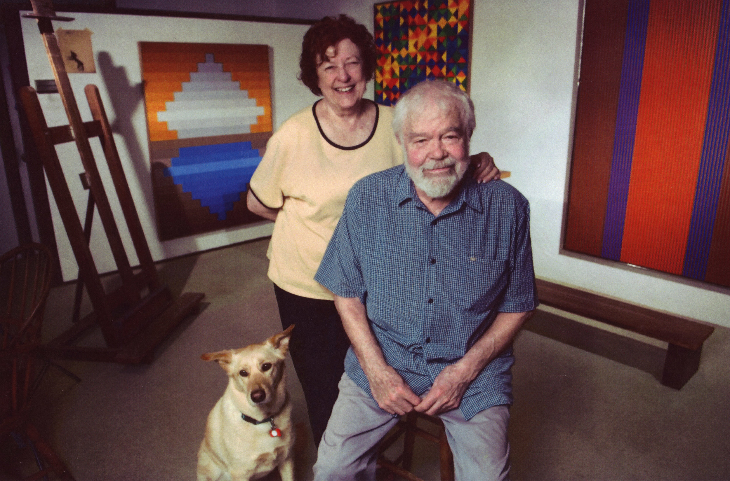 "Karl & Beverly Benjamin with ""Mischa"" in the artist's studio, circa 2000."