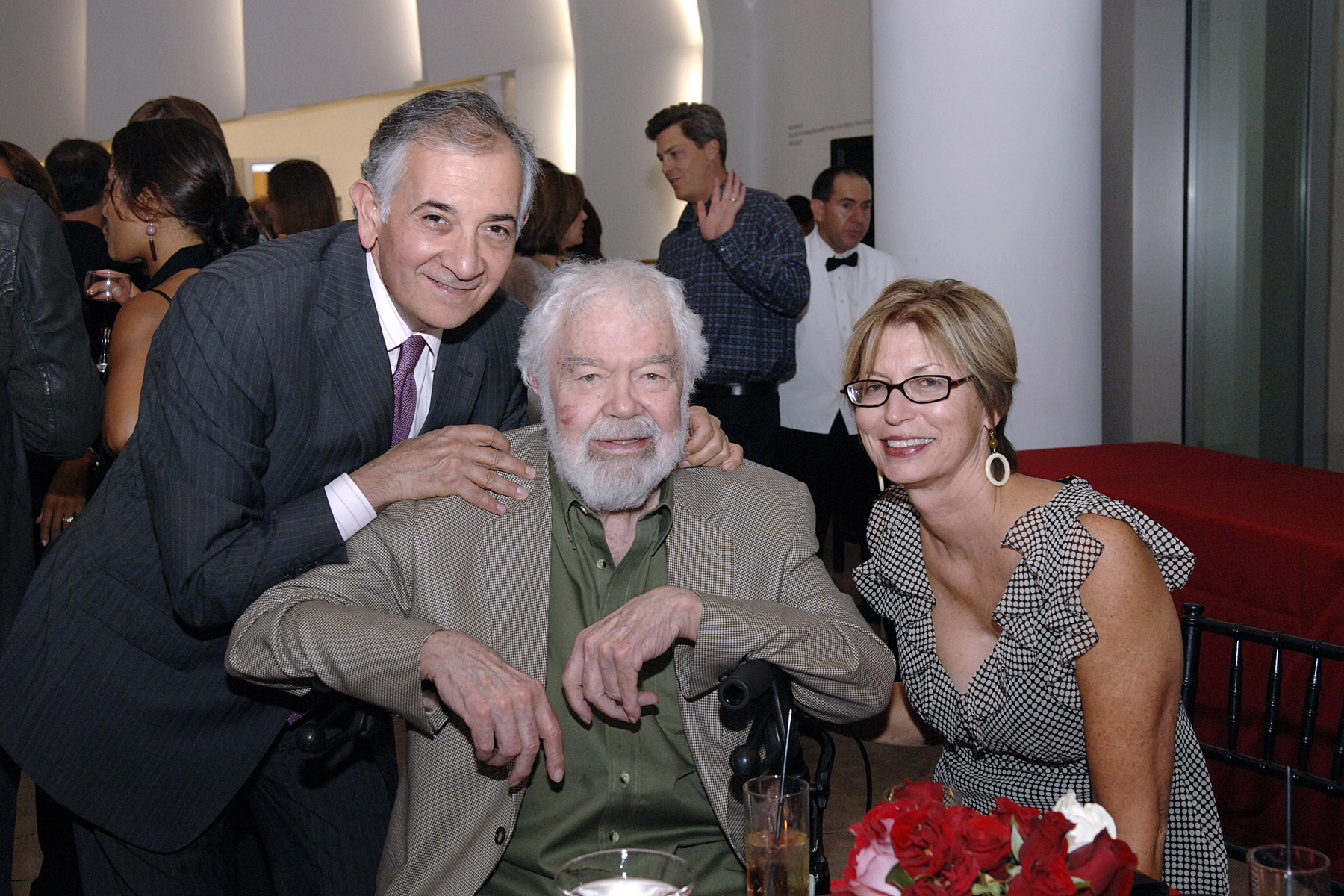 "Louis Stern, Karl Benjamin and Elizabeth Armstrong (formerly of the OCMA and currently Assistant Director of Exhibitions and Programs for the Minneapolis Institute of Arts) at the ""Birth of the Cool"" exhibition opening, 2007."