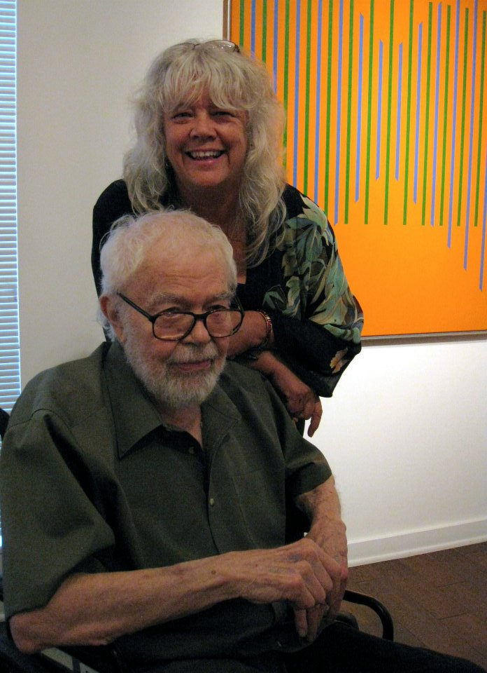 Karl and Beth Benjamin at Louis Stern Fine Arts for the opening of  Evolution of Abstraction , 2011.