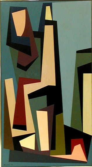 Buildings/New York , 1955 oil on canvas 44 x 24 inches; 111.76 x 60.96 centimeters  Long Beach Museum of Art