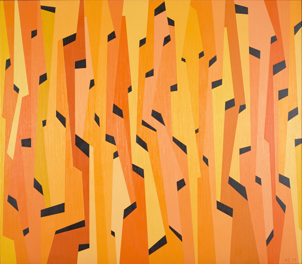 Interlocking Forms (Yellow, Orange, Black), 1959  oil on canvas 42 3/4 x 48 3/4 inches  Nora Eccles Harrison Museum