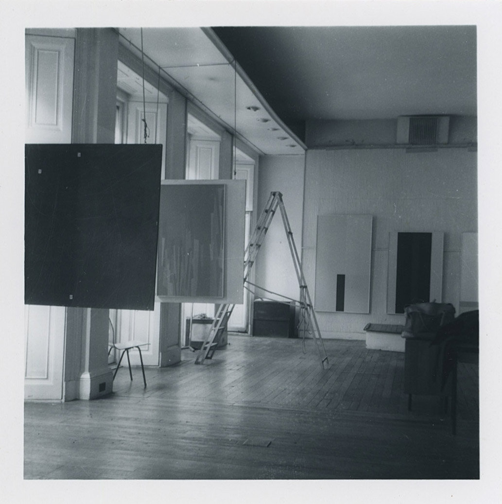 Paintings by Karl Benjamin and John McLaughlin in  West Coast Hard Edge  at the Institute of Contemporary Art (ICA), London, 1960.