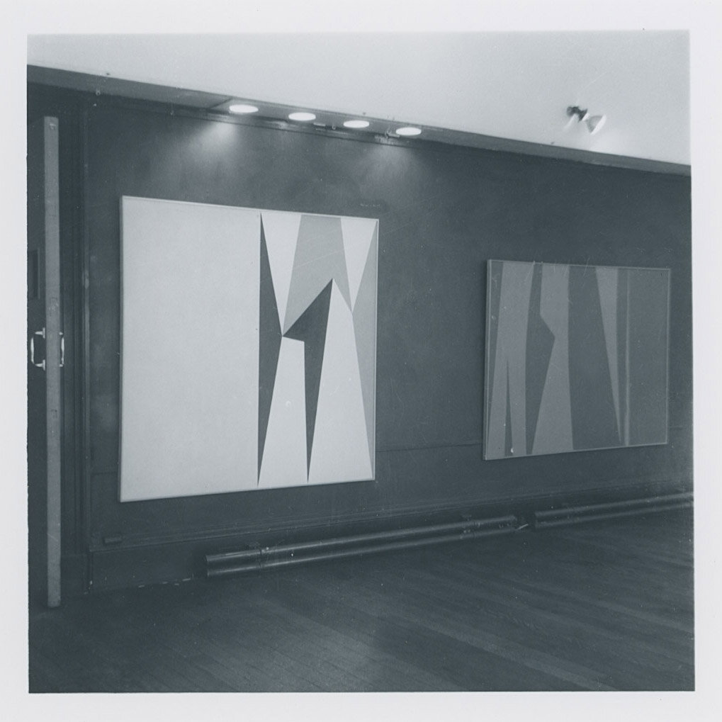 Paintings by Lorser Feitelson in  West Coast Hard Edge  at the Institute of Contemporary Art (ICA), London, 1960.
