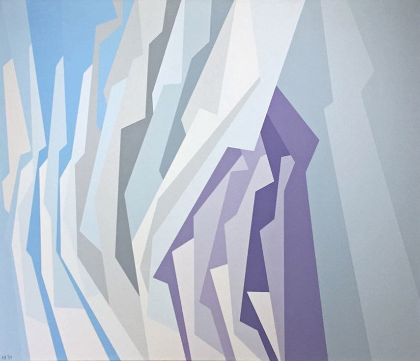 Interlocking Forms (blue, lavender, white) , 1959 oil on canvas 50 x 60 inches; 101.6 x 152.4 centimeters  Palm Springs Art Museum