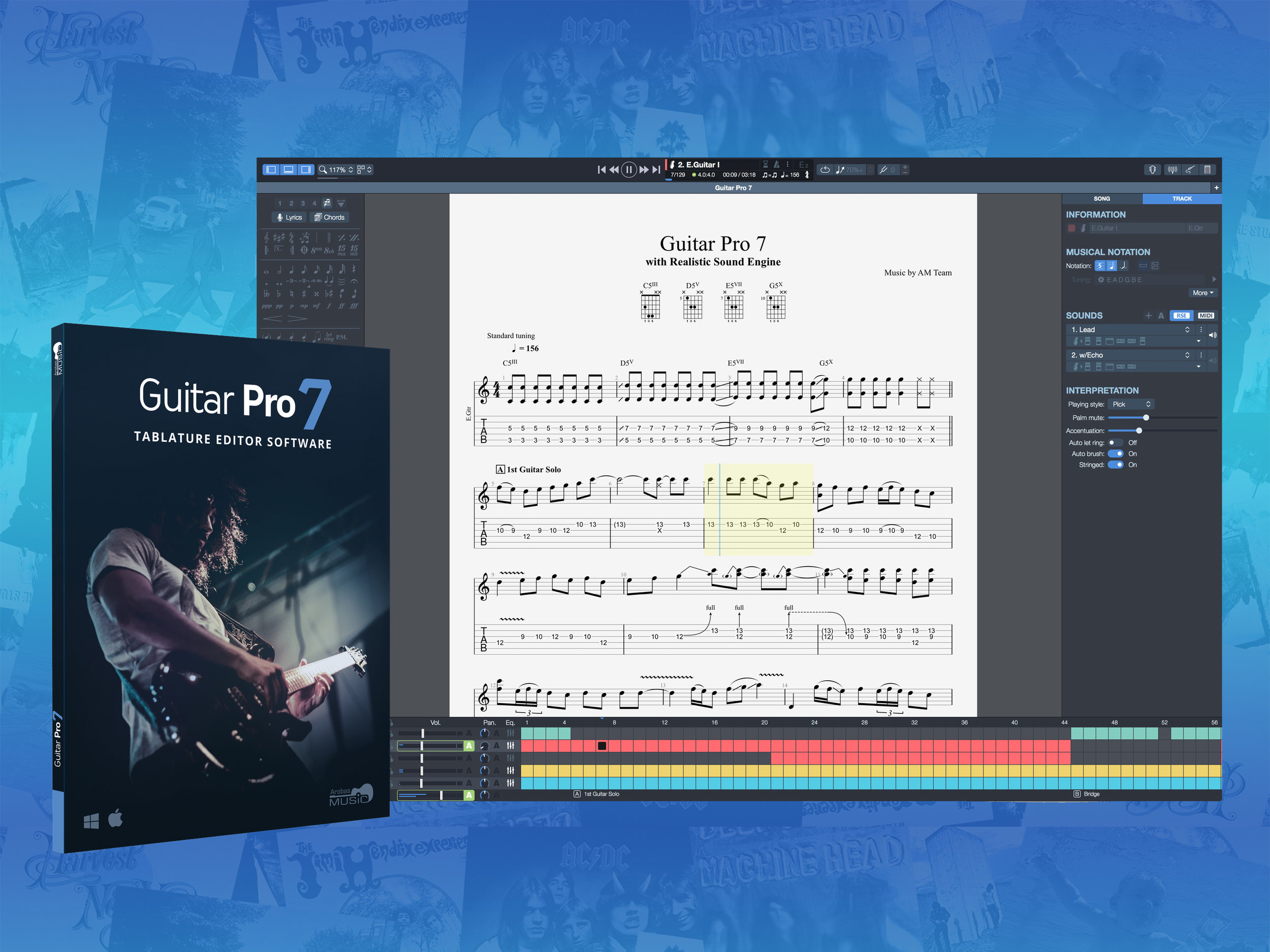 Guitar Pro - Moses uses Guitar Pro 7.5 to notate all his fingerstyle arrangements because of its intuitive user interface, beautiful layout and keyboard shortcuts.