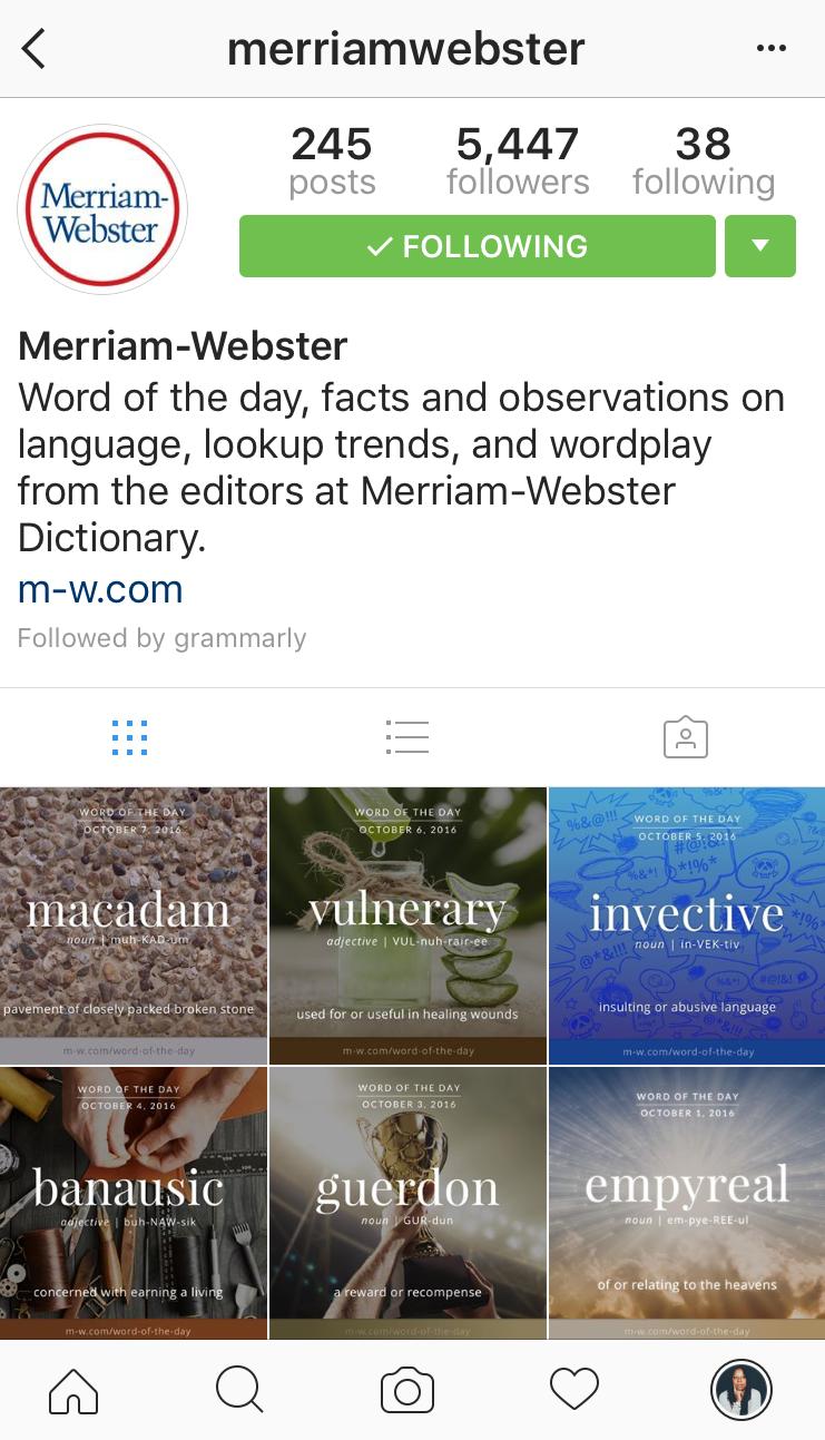instagram account for merriam webster