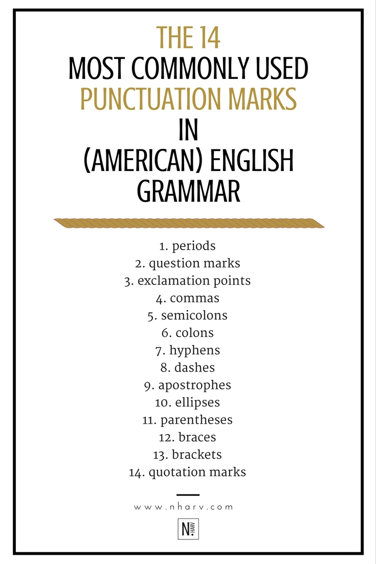 14 most commonly used punctuations in english grammar