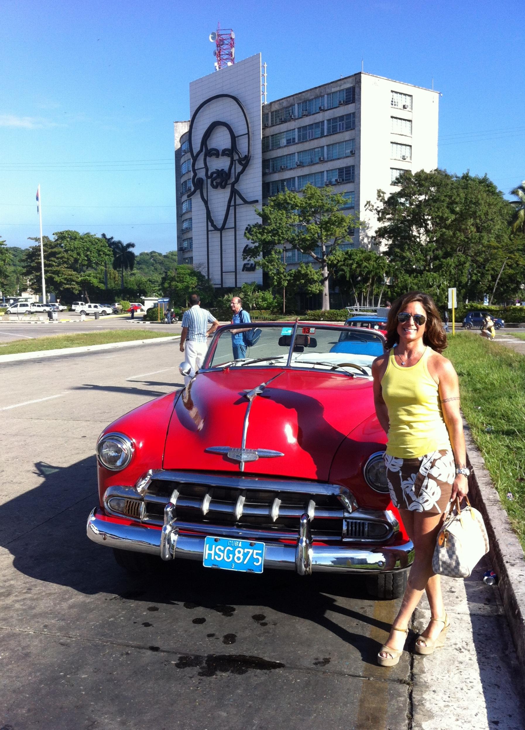 Havana Classic Car and Image of Fidel Castro