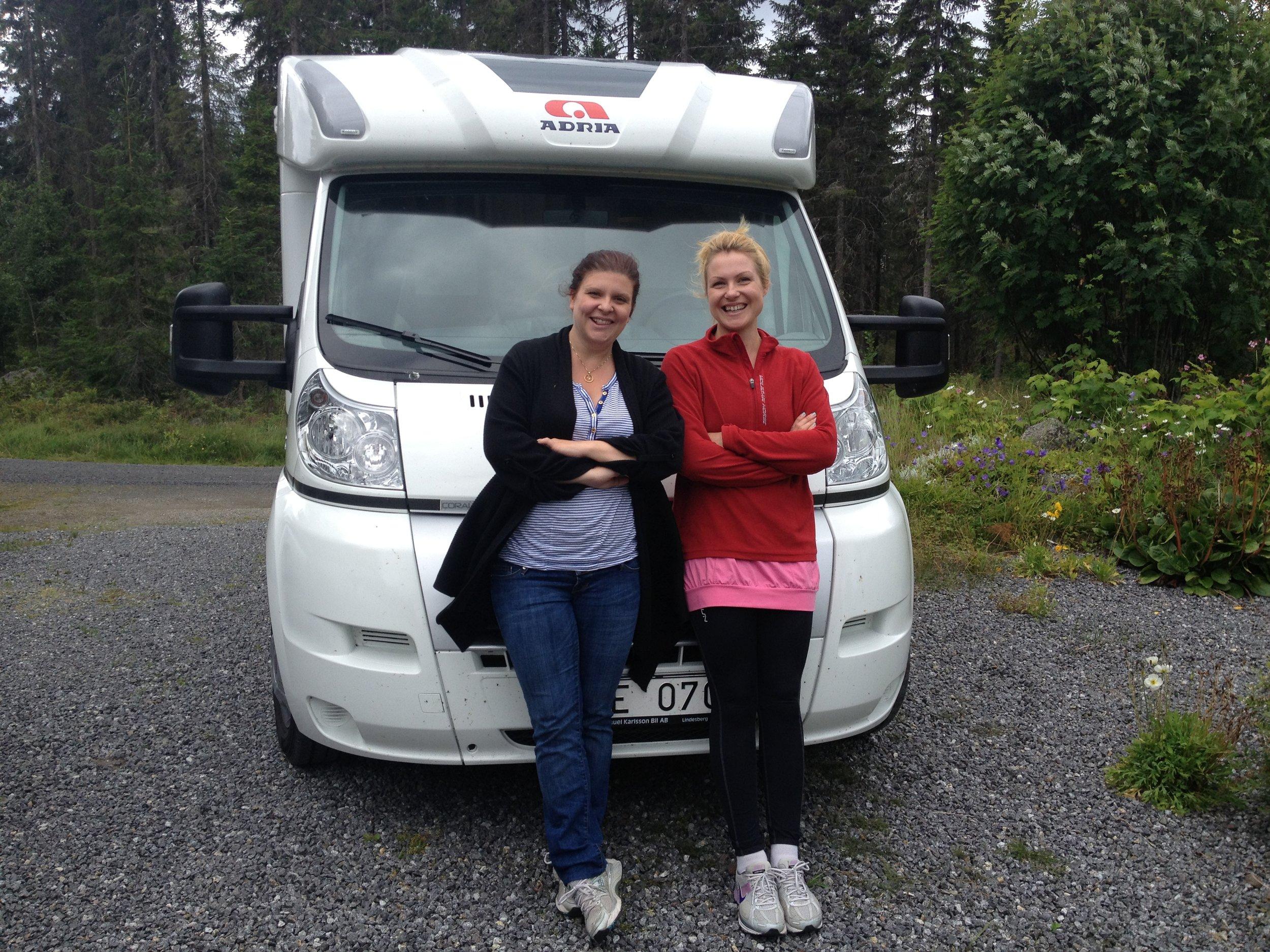 Jag, Lina och vår husbil på väg hem ifrån Boden sommaren 2012.