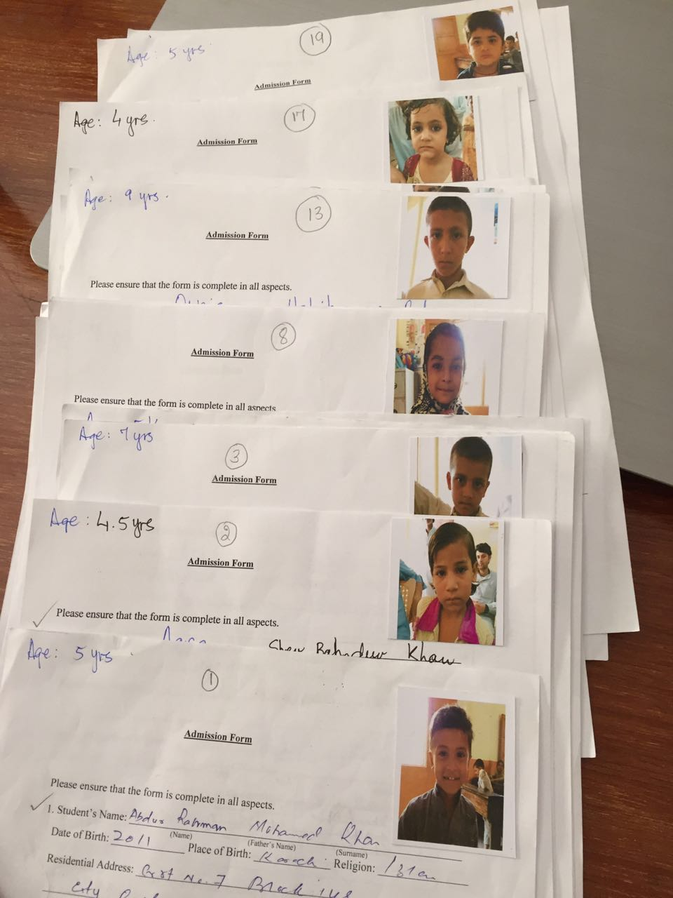 Children's admission forms