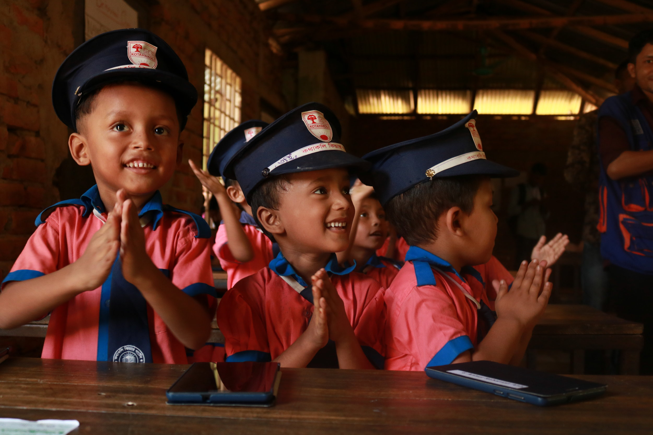 Students from the host community looking sharp in their uniforms