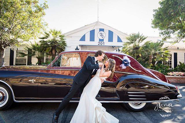 Kristi + Ron + cool car = way too much fun. Congrats you two! #weddingphotography #classiccars #santamonica