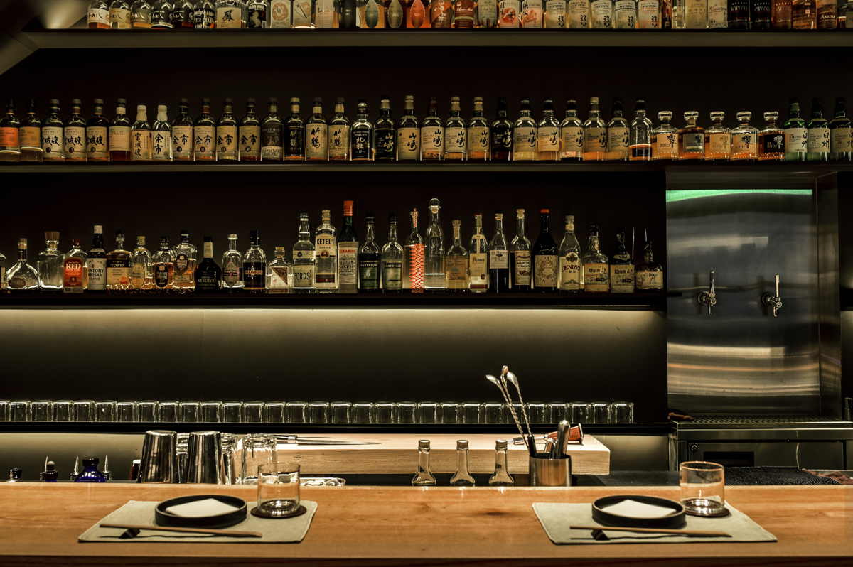 The stocked bar at Ronin in HK