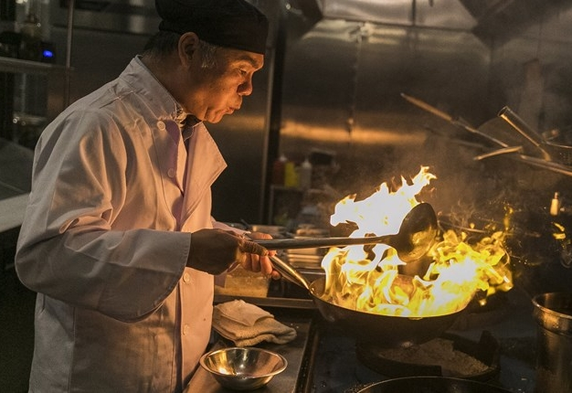Chef Chen Lieh Tang at the wok