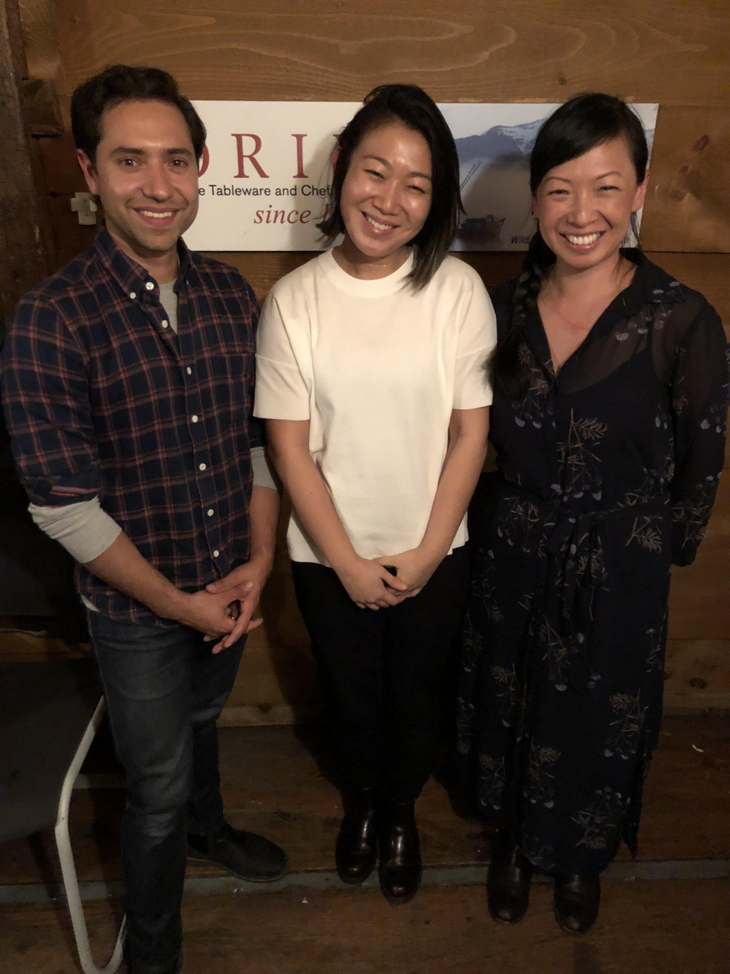 In the studio: Leif Huckman, Lynda Liu, Karen Lin