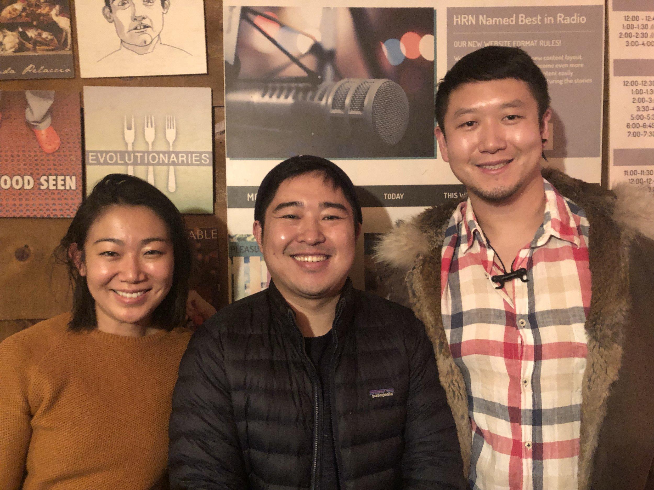 In the studio: Lynda Liu, Xiaowei Zheng, Donovan Tian