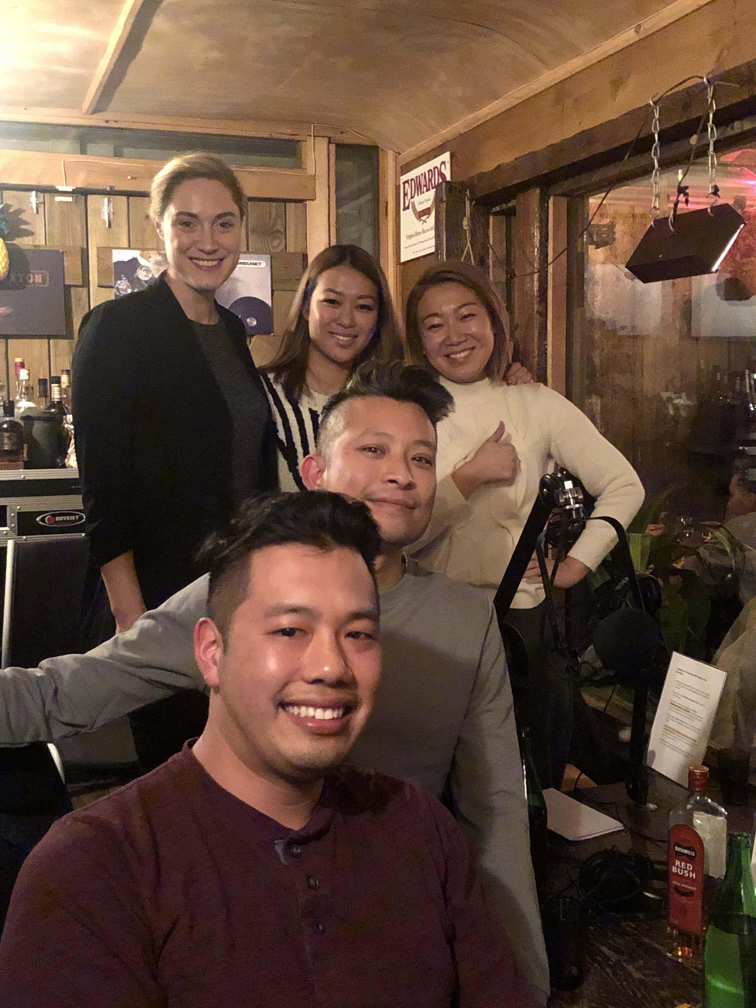 In the studio: Sara Leveen, Kim Hoang,  Lynda Liu, Dennis Ngo, Daniel Le