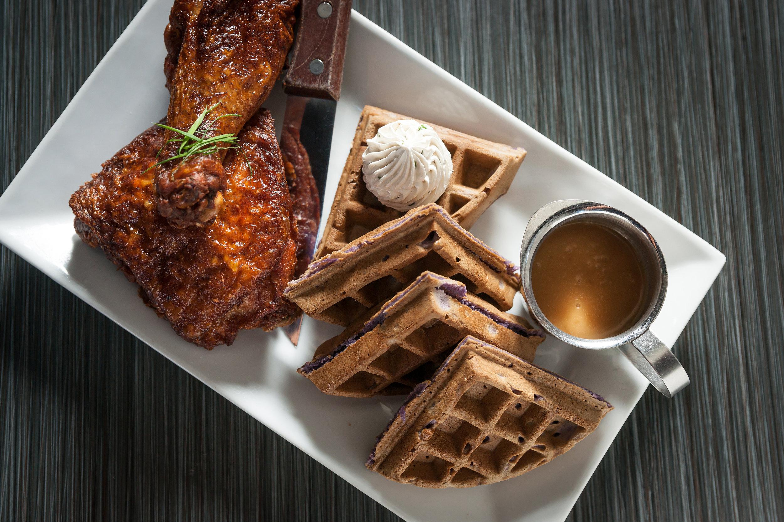 Chicken and Ube Waffles at Maharlika