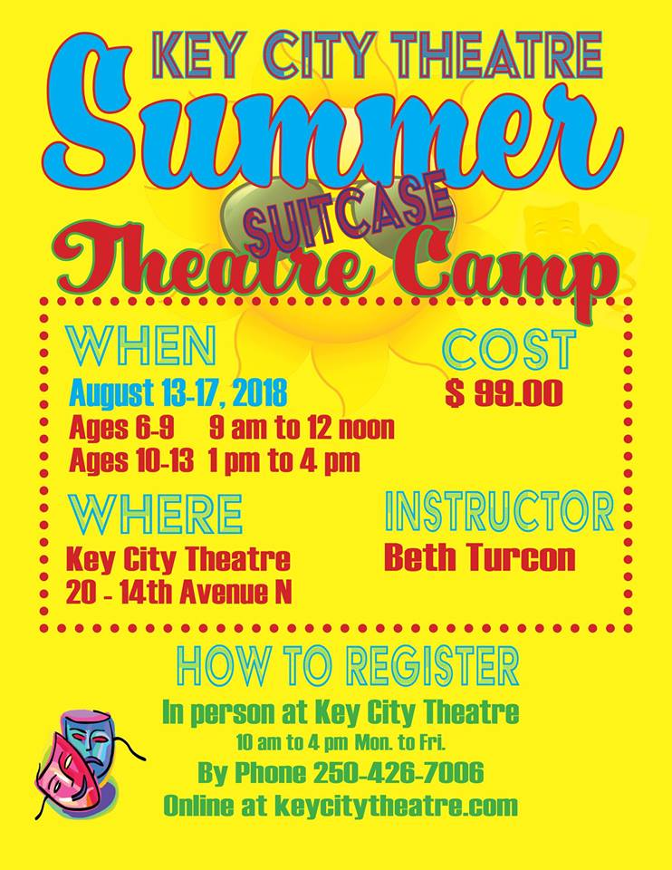 MONDAY, August 13th - Summer Theatre Camp | We are thrilled to once again offer our Summer Theatre Camps for Kids. Led by Bethany Turcon, students will learn theatre skills, have fun and present their own play based on items found in a suitcase. Runs August 13-17, 2018* Hosted by Key City Theatre