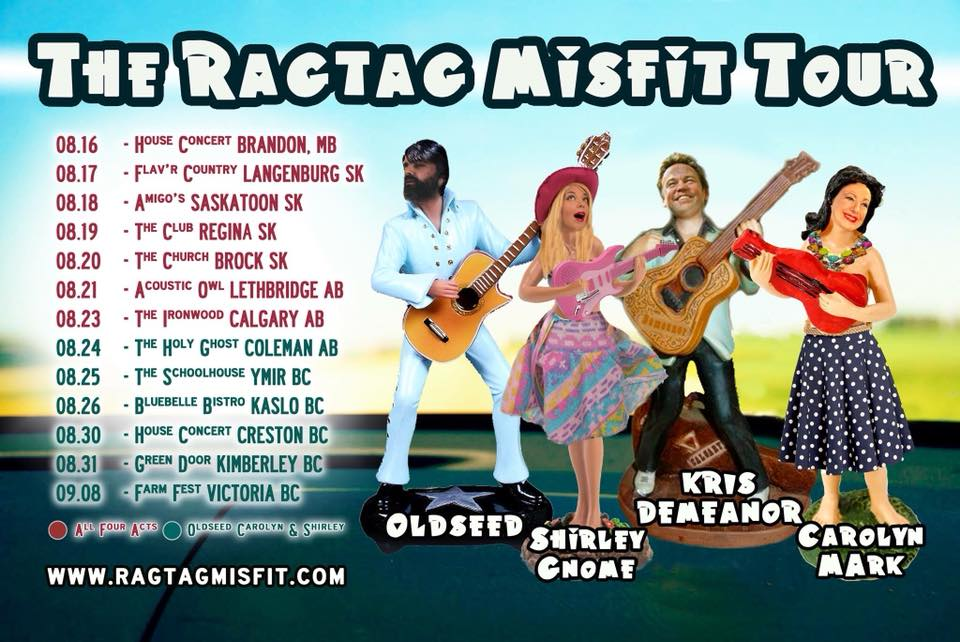 FRIDAY, August 31st - Shirley Gnome's Ragtag Misfits Tour | This is the best movie plot: A ragtag group of misfit entertainers are mistaken for real life super heroes and band to together to save the day. Well why not make real life more like the movies?Shirley Gnome sings beautiful and filthy songs from the bottom of her lady parts that'll have you twitching in the aisles. Old Seed is an intense singer/songwriter and former Manitoban now living in Kassel, Germany. Carolyn Mark is your favourite boozy chanteuse and Queen of Vancouver Island. She also does yard work.Together they shall band together and save the day through The Prairies and beyond!* Hosted by Green Door