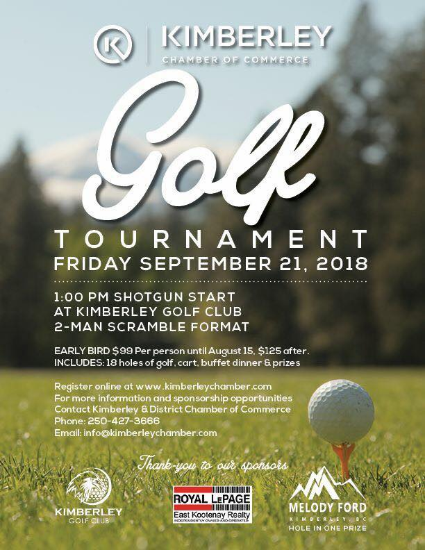 THE KIMBERLEY & DISTRICT CHAMBER OF COMMERCE GOLF TOURNAMENT  takes place on Friday September 21st, 2018 and      you can register yourself / your group over on the Kimberley Chamber website     … but don't wait too long, as the spots are limited and will go fast once everybody gets wind of all the amazing perks & prizes.