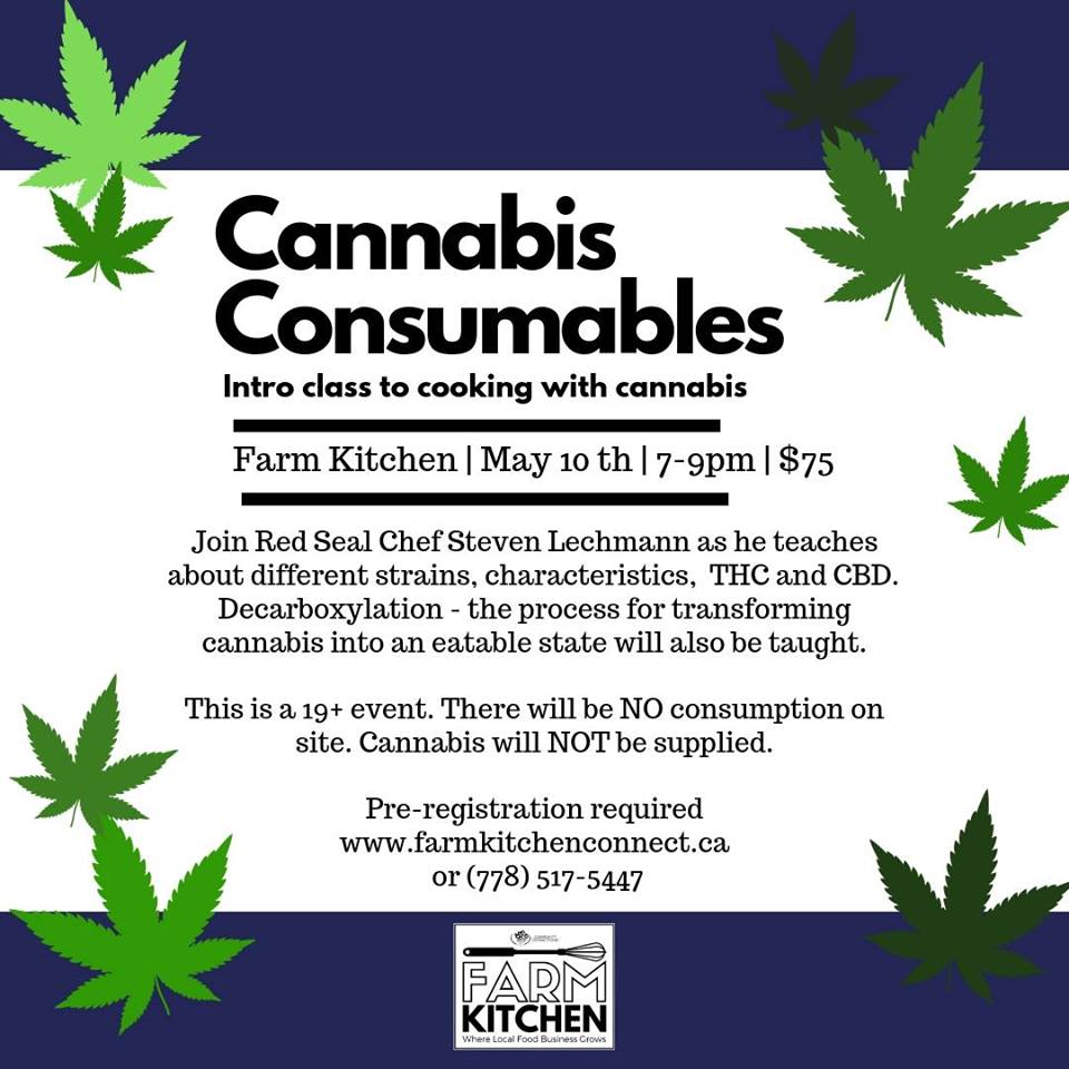 Friday, May 10th - Cannabis Consumables | Join Red Seal Chef Steven Lechmann as he teaches about different strains, characters THC and CBD. Decarboxylation - the process for transforming cannabis into an eatable state will also be taught.This is a 19+ event. There will be NO consumption on site. Cannabis will NOT be supplied. Pre-registration required (www.farmkitchenconnect.ca)* Hosted by Farm Kitchen