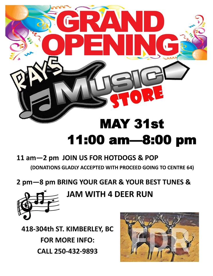 Friday, May 31st - Ray's Music Grand Opening! | Grand Opening May 31st!! Free BBQ and open jam hosted by Four Deer Run, come help us celebrate! 🎉🎸🌭🥁🎊 We will be accepting donations for the barbeque with all proceeds going to Center 64.* Hosted by Ray's Music Store