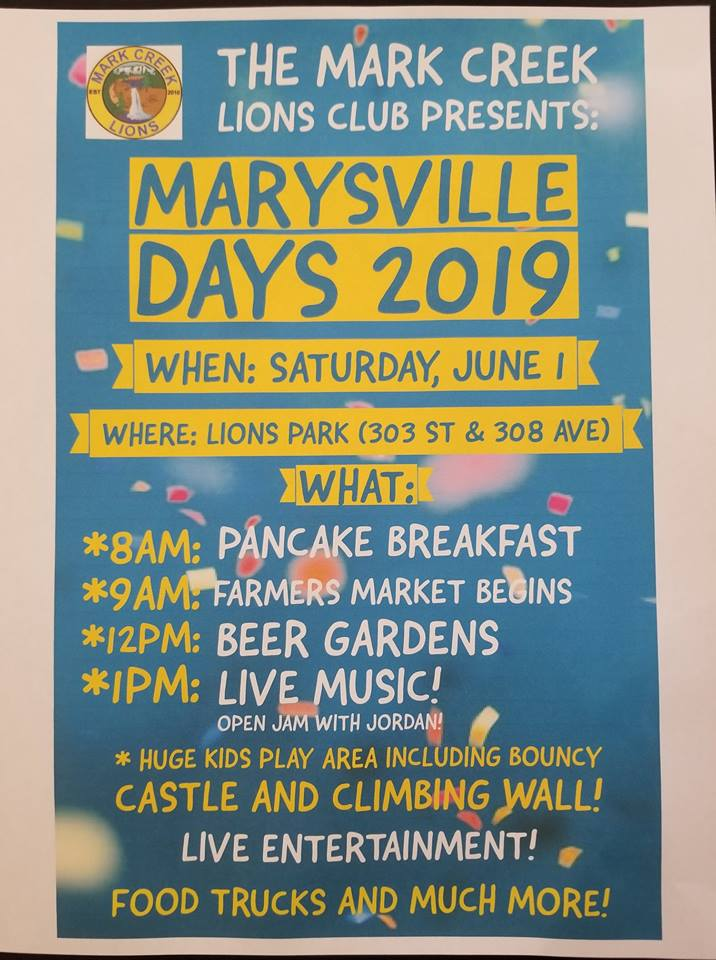 Saturday, June 1st - Marysville Days 2019 | The event will be held at Lions Park on Saturday, June 1st, with pancake breakfast starting at 8am 😍This year, with the added help of lots of new members, we are looking to really ramp it up! One portion we are planning is a huge Market!* Hosted by Mark Creek Lions