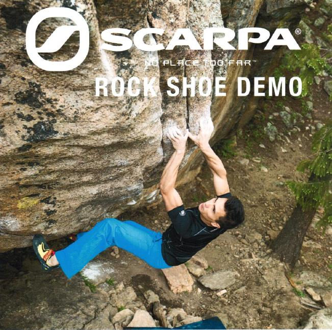 MONDAY, June 3rd - Scarpa Rock Shoes Demo | Are your shoes on their last climb? Simply wanting to test some fun shoes before you really commit?On Monday, June 3, ARQ will be bringing the Cranbrook Climbing Community a SCARPA representative that will answer all of those questions..... AND MORE! No need to sign up or pay an extra fee. Come on in, try some shoes, get expert advice, and HAVE FUN!!!!* Hosted by ARQ Mountain Centre