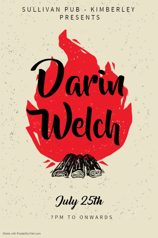 THURSDAY, July 25th - Darin Welch at the Sullivan Pub | Live music at The Sully with local musician Darin Welch.* Hosted by Darin Welch Music