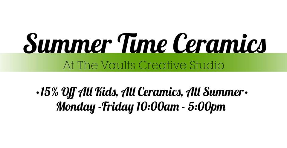 MONDAY, August 26th - Summer Time Ceramics | Bring your kids in for some creative family time - All children will receive 15% off all Ceramics, All Summer.This is an open studio event with limited seating - All spaces are available on a first come first serve basis. general paint time is between 1-2 hours, Prices for ceramics are between $10 - $50 and include paints, supplies and firing. Children 12 and up can be left unattended but children younger will require an adult to join them* Hosted by Cranbrook Photo & Studio